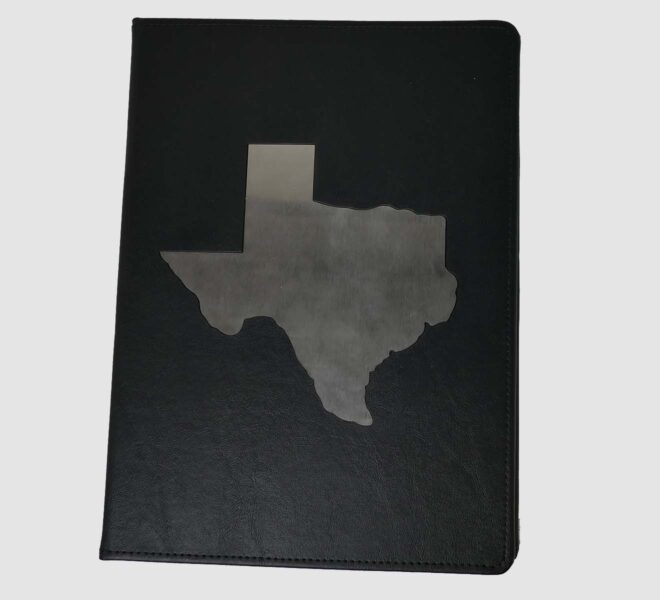 Custom-padfolios-unified-packaging-Texas-Padfolio-Metal-leather